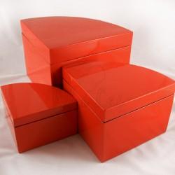 Set de 3 Boîtes laquées rouges Phan Tu