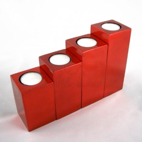 Set de 4 bougeoirs laqués rouges Bôn Bac