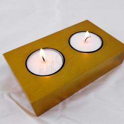 Pendentif nacre jaune collier violet
