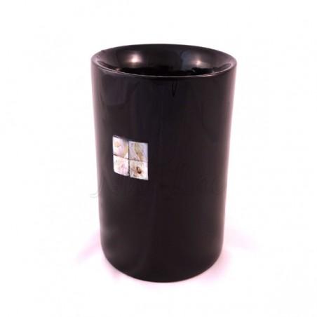 Pot à crayons laqué noir motif nacre