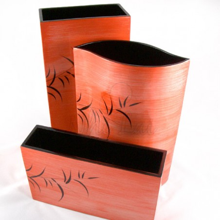 Set de 3 vases laqués motif bambou