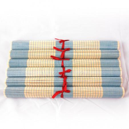 Lot de 6 sets de table en fibre de bambou naturel et bleu
