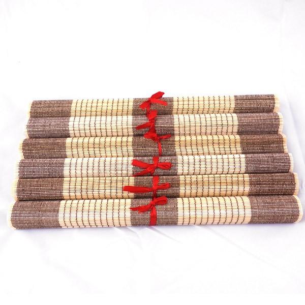 Lot de 6 sets de table en fibre de bambou naturel et marron