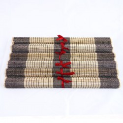 Lot de 6 sets de table en fibre de bambou naturel et noir