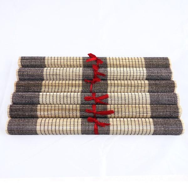 Lot de 6 sets de table en fibre de bambou naturel et noir