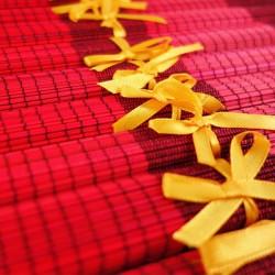 Lot de 10 sets de table en fibre de bambou rouge