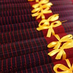 Lot de 10 sets de table en fibre de bambou noir et rouge