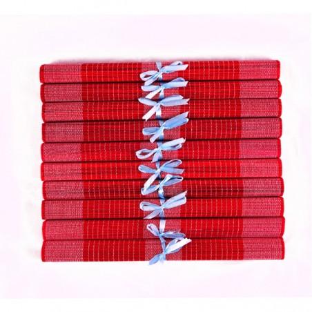 Lot de 10 sets de table en fibre de bambou rouge et blanc