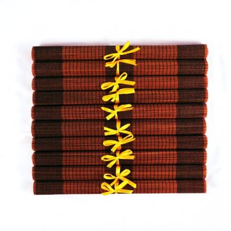 Lot de 10 sets de table en fibre de bambou café et noir