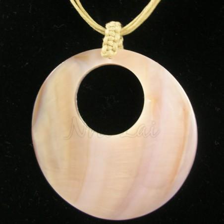 Pendentif nacre brune collier jaune