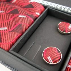 Pack cravate en soie rouge + pochette + boutons assortis