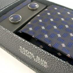 Pack cravate en soie bleu marine + pochette + boutons assortis