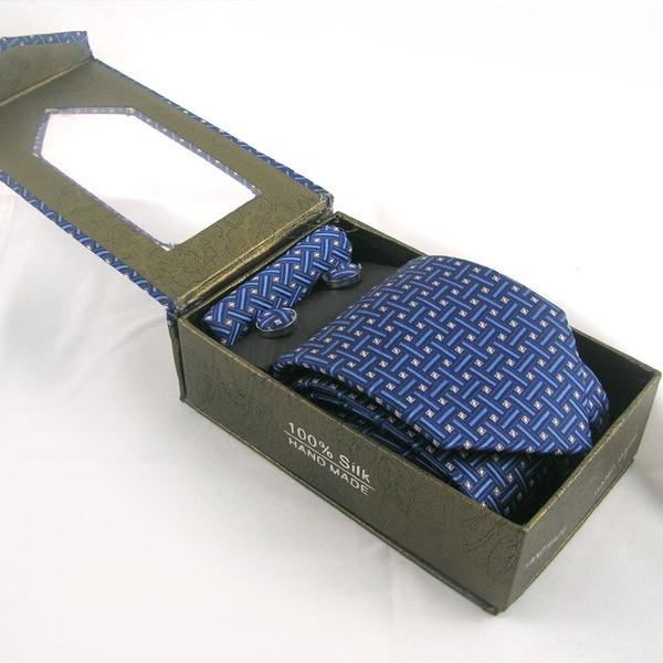 Pack cravate en soie bleue + pochette + boutons assortis