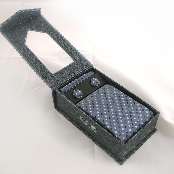 Pack cravate en soie bleu gris + pochette + boutons assortis