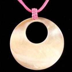 Pendentif nacre brune collier rose fluo