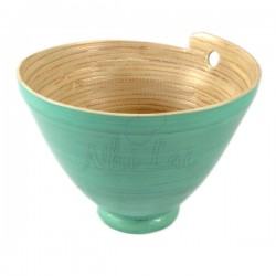 Grand bol en bambou lasuré bleu Sung Lo - M