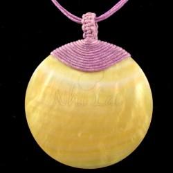 Pendentif nacre jaune collier rose
