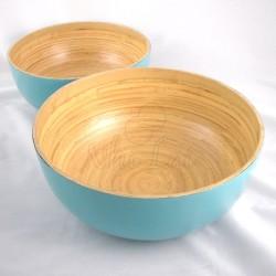 Set de saladiers en bambou bleu turquoise Sa Lat
